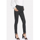 Women's Vertical Stripe Print Fitted Black Pencil Pants
