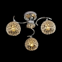 3 Lights Ball Shade Semi Flush Mount Lighting Modern Style Clear Crystal Ceiling Light Fixture, H23.5