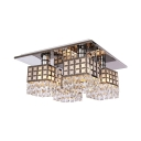 Indoor Square Semi Flush Light Clear Crystal Contemporary Style Ceiling Lighting, 9