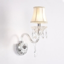 Vintage Style Flared Wall Mounted Light with Clear Crystal Fabric Sconce Lighting in White