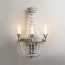 Candle Porch Sconce Light with Clear Crystal 3 Lights Antique Style Wall Mounted Lighting in Grey, H21.5
