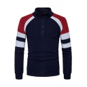 Men's New Trendy Colorblocked Long Sleeve Button Stand Collar Slim Sweater