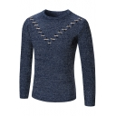 Fashion Chevron Lace-Up Patched Basic Crew Neck Mens Slim Fit Jumper Sweater