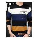 Mens Basic Crewneck Long Sleeve Simple Letter CASUAL FASHION STYLE Colorblock Fitted Knitwear Sweater
