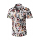 Men's Vintage Floral Tribal Printed Short Sleeve Leisure Fitted Button-Up Shirt