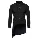 Basic Simple Plain Summer Trendy Slant Cut Bottom Swallow-Tailed Slim Long Shirt for Men