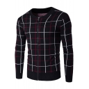 Mens Warm Thick Fashion Check Print Round Neck Zip Closure Fitted Cardigan
