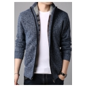 Guys Casual Loose Heather Color Stand Collar Zip Closure Plain Coat Cardigan