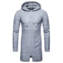 Mens New Stylish Plain Drawstring Hooded Slim Fit Longline Marled Knit Sweater