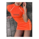 Stylish Letter PLAYGAME Printed Mock Neck Short Sleeve Reflective Striped Side Fit Mini Orange Tee Dress
