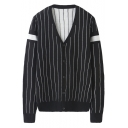 Trendy Vertical Stripe Printed V-Neck Long Sleeve Mens Button Down Black Loose Fit Cardigan