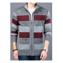 Mens Warm Thick Fashion Color Block Stand Collar Zip Up Fitted Heather Color Cardigan