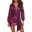 New Stylish V-Neck Long Sleeve Metallic Color Mini Asymmetrical Dress