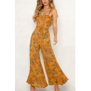 Womens Summer New Trendy Floral Printed Ruffled Hem Tied Waist Wide-Leg Holiday Jumpsuits