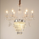 Candle Chandelier Dining Room 6/8 Lights Vintage Chandelier Light with Adjustable Cord in Chrome/Brass