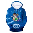 Popular American Rapper Fashion 3D Cartoon Figure Letter KOD Printed Long Sleeve Relaxed Fit Blue Pullover Hoodie