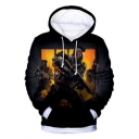 Cool 3D Figure Printed Long Sleeve Black Casual Pullover Hoodie