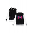 Popular American Rapper Portrait Print Rib Collar Colorblock Button Down Baseball Jacket