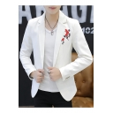 New Trendy Floral Embroidered Single Button Notch Lapel Slim Fit Long Sleeve Mens Blazer Jacket
