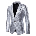 Fashion Dot Embossing Design Metallic Color Long Sleeve Notched Lapel Collar Single Button Mens Suit Blazer