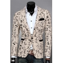 New Stylish Oracle Print Long Sleeve Single Button Notch Lapel Mens Draping Blazer Jacket
