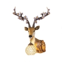 Vintage Deer Sconce Light Clear Crystal 1 Light in Gold Wall Lamp for Living Room