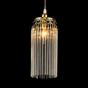 Linear Single Pendant Light Clear Crystal Vintage Ceiling Light in Gold for Living Room