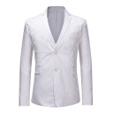 Men's Jacquard Floral Pattern Long Sleeve Notched Lapel Collar Double Button White Prom Tuxedo Suit