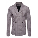 Men's Classic Plaid Pattern Shawl Collar Double Breasted Long Sleeve Blazer Coat