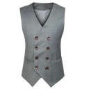 Men's Hot Fashion Buckle Back Double Breasted Grey Business Suit Vest