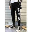 Mens Street Style Fashion Letter Printed Drawstring Waist Casual Black Track Pants