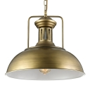 1 Light LED Pendant with Antique Brass/Gold Metal Shade