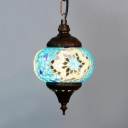 Single Light Spherical Light Fixture Antique Mosaic Pendant Lighting for Living Room