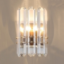 Modern Chrome Wall Lamp with Cylinder Shape and Clear Crystal 2 Lights Metal Wall Sconce
