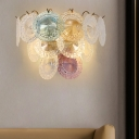 Colorful Sconce 4 Lights Traditional Clear Round Crystal Wall Light for Living Room
