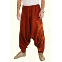 Fashion Men's Retro Unique Printed Loose Fit Drawstring Waist Baggy Drop-Crotch Harem Pants