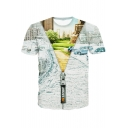New Stylish Creative 3D Open New World Zip Printed Short Sleeve Grey T-Shirt