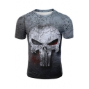 The Punisher Skull Pattern Round Neck Short Sleeve Loose Fit Grey T-Shirt