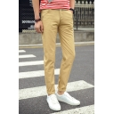 Mens New Stylish Basic Solid Color Rolled Hem Slim Fit Cotton Chinos Pants