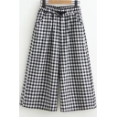 Women's New Trendy Plaid Printed Drawstring Waist Black Relaxed Casual Wide Leg Pants