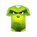 Chic Funny 3D Expression Printed Short Sleeve Green Mens Casual T-Shirt