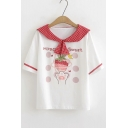 Cute Strawberry Cat Claw Letter Printed Plaid Sailor Collar Short Sleeve White Tee