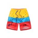 Summer Colorblock Halobios Printed Drawstring-Waist Mens Beach Shorts Swim Trunks