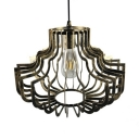 Antique Pendant Lamp with Cage Length Adjustable Single Light Metal Overhead Light in Gold/Rust