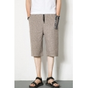 Guys Summer Fashion Heather Color Drawstring Waist Wide-Leg Slouch Cropped Pants