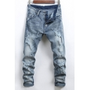 Guys New Fashion Bleach Washed Stretch Slim Fit Distressed Ripped Blue Jeans