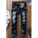 Men's Fashion Dark Blue Ripped Bleach Washed Straight Fit Torn Jeans