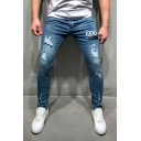 Men's Street Hip Hop Style XXX Embroidery Patched Blue Casual Ripped Skinny Jeans