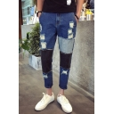 Guys Cool Hip Hop Style Colorblocked Patched Slim Fit Ripped Dark Blue Jeans