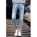 Men's New Stylish Retro Floral Printed Rolled Cuff Regular Fit Light Blue Ripped Jeans